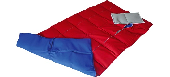 Enste® Weighted Blanket 144x72 cm, red/blue, Cotton outer cover