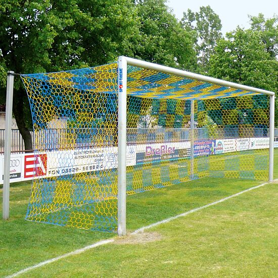 Aluminium Football Goal, 7.32x2.44 m, Socketed with Free Net Suspension Anodised matt silver, Net hooks