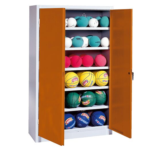 Ball Cabinet, HxWxD 195x120x40 cm, with Sheet Metal DoubleDoors (type 3) Sienna red (RDS 050 40 50), Light grey (RAL 7035)