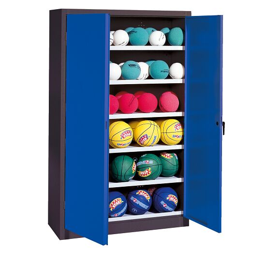 Ball Cabinet, HxWxD 195x120x40 cm, with Sheet Metal DoubleDoors (type 3) Gentian blue (RAL 5010), Anthracite (RAL 7021)