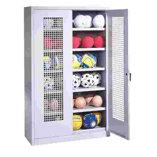 Ball Cabinet, HxWxD 195x120x50 cm, with Perforated Metal Double Doors (type 3) Light grey (RAL 7035), Light grey (RAL 7035)