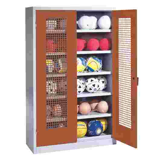 Ball Cabinet, HxWxD 195x120x50 cm, with Perforated Metal Double Doors (type 3) Sienna red (RDS 050 40 50), Light grey (RAL 7035)