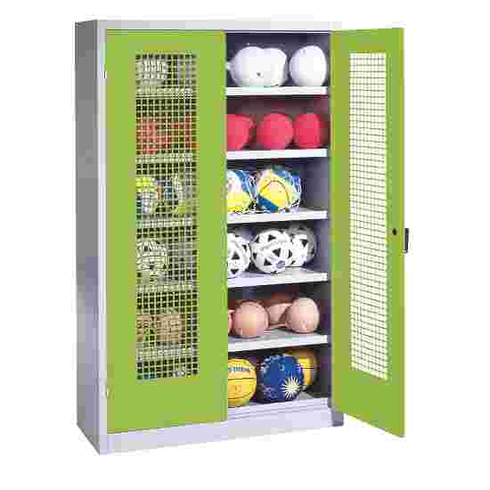 Ball Cabinet, HxWxD 195x120x50 cm, with Perforated Metal Double Doors (type 3) Viridian green (RDS 110 80 60), Light grey (RAL 7035)