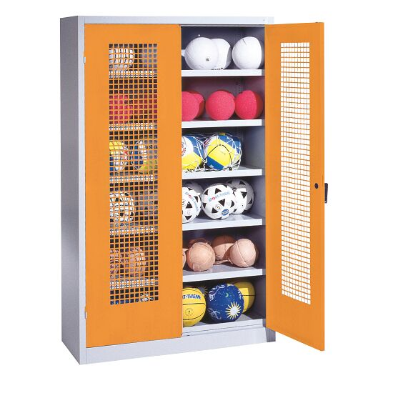 Ball Cabinet, HxWxD 195x120x50 cm, with Perforated Metal Double Doors (type 3) Yellow orange (RAL 2000), Light grey (RAL 7035)