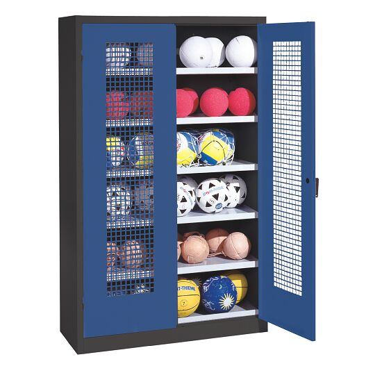 Ball Cabinet, HxWxD 195x120x50 cm, with Perforated Metal Double Doors (type 3) Gentian blue (RAL 5010), Anthracite (RAL 7021)