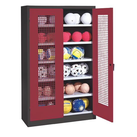 Ball Cabinet, HxWxD 195x120x50 cm, with Perforated Metal Double Doors (type 3) Ruby red (RAL 3003), Anthracite (RAL 7021)