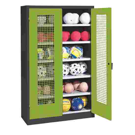 Ball Cabinet, HxWxD 195x120x50 cm, with Perforated Metal Double Doors (type 3) Viridian green (RDS 110 80 60), Anthracite (RAL 7021)