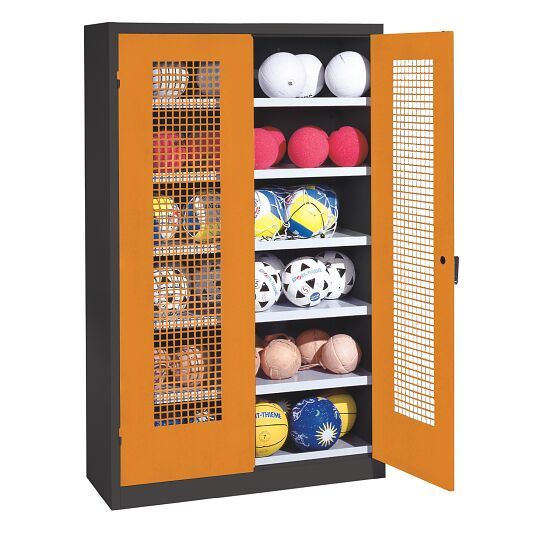 Ball Cabinet, HxWxD 195x120x50 cm, with Perforated Metal Double Doors (type 3) Yellow orange (RAL 2000), Anthracite (RAL 7021)