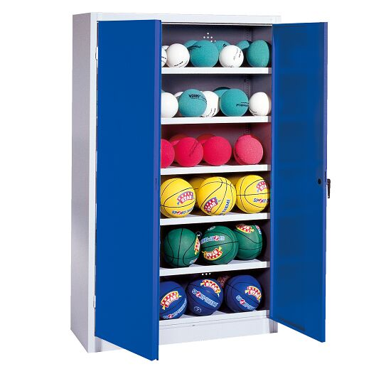 Ball Cabinet, HxWxD 195x120x50 cm, with Sheet Metal Wing Doors (type 3) Gentian blue (RAL 5010), Light grey (RAL 7035)