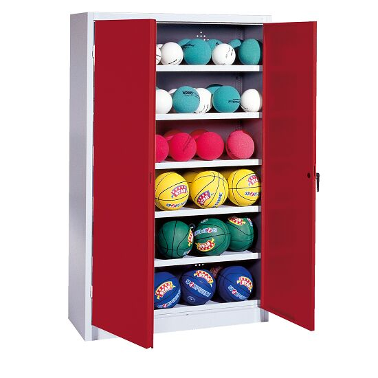 Ball Cabinet, HxWxD 195x120x50 cm, with Sheet Metal Wing Doors (type 3) Ruby red (RAL 3003), Light grey (RAL 7035)