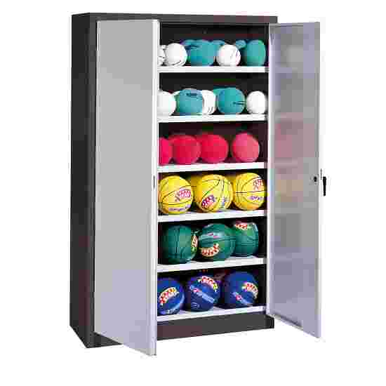 Ball Cabinet, HxWxD 195x120x50 cm, with Sheet Metal Wing Doors (type 3) Light grey (RAL 7035), Anthracite (RAL 7021)