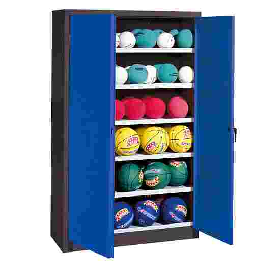 Ball Cabinet, HxWxD 195x120x50 cm, with Sheet Metal Wing Doors (type 3) Gentian blue (RAL 5010), Anthracite (RAL 7021)