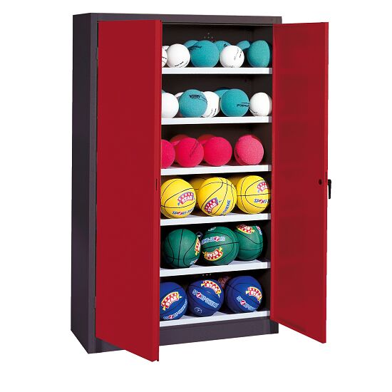 Ball Cabinet, HxWxD 195x120x50 cm, with Sheet Metal Wing Doors (type 3) Ruby red (RAL 3003), Anthracite (RAL 7021)