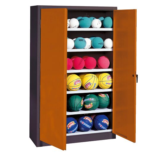 Ball Cabinet, HxWxD 195x120x50 cm, with Sheet Metal Wing Doors (type 3) Sienna red (RDS 050 40 50), Anthracite (RAL 7021)