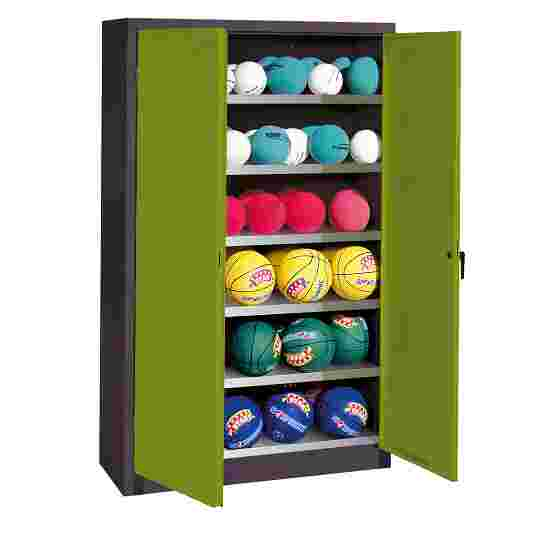 Ball Cabinet, HxWxD 195x120x50 cm, with Sheet Metal Wing Doors (type 3) Viridian green (RDS 110 80 60), Anthracite (RAL 7021)