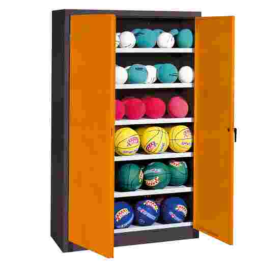 Ball Cabinet, HxWxD 195x120x50 cm, with Sheet Metal Wing Doors (type 3) Yellow orange (RAL 2000), Anthracite (RAL 7021)
