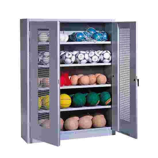 Ball Cabinet, HxWxD 195x150x50 cm, with Perforated Metal Double Doors (type 3) Light grey (RAL 7035), Light grey (RAL 7035)