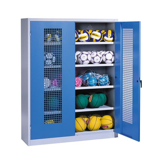 Ball Cabinet, HxWxD 195x150x50 cm, with Perforated Metal Double Doors (type 3) Gentian blue (RAL 5010), Light grey (RAL 7035)