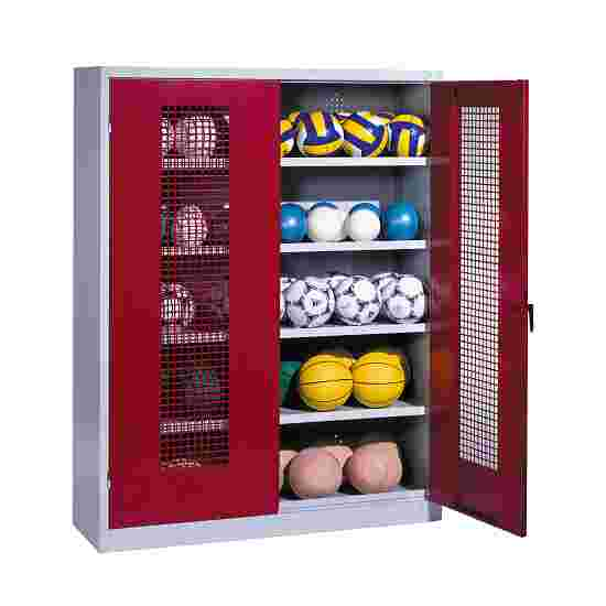 Ball Cabinet, HxWxD 195x150x50 cm, with Perforated Metal Double Doors (type 3) Ruby red (RAL 3003), Light grey (RAL 7035)