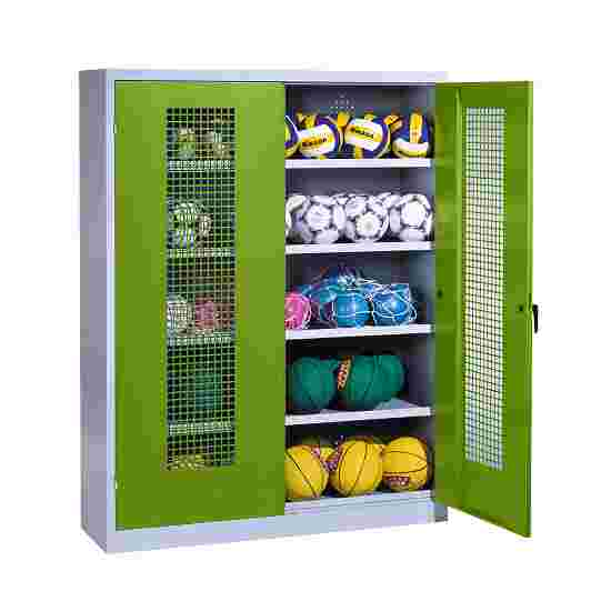 Ball Cabinet, HxWxD 195x150x50 cm, with Perforated Metal Double Doors (type 3) Viridian green (RDS 110 80 60), Light grey (RAL 7035)