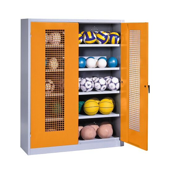 Ball Cabinet, HxWxD 195x150x50 cm, with Perforated Metal Double Doors (type 3) Yellow orange (RAL 2000), Light grey (RAL 7035)