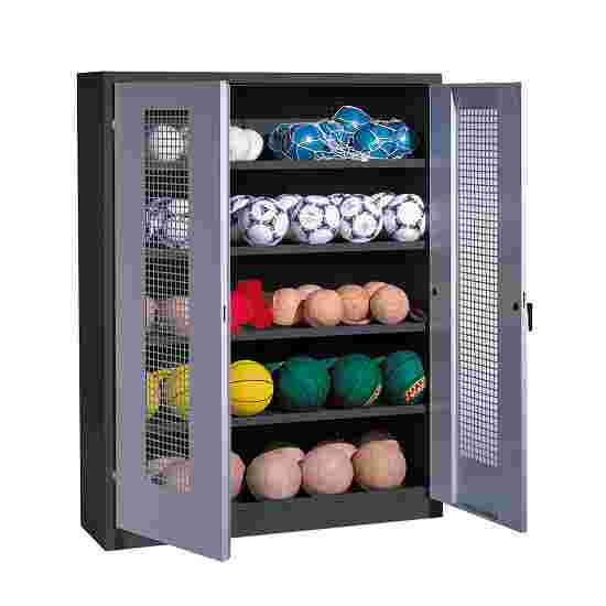 Ball Cabinet, HxWxD 195x150x50 cm, with Perforated Metal Double Doors (type 3) Light grey (RAL 7035), Anthracite (RAL 7021)