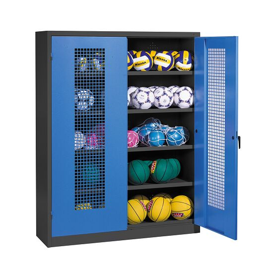 Ball Cabinet, HxWxD 195x150x50 cm, with Perforated Metal Double Doors (type 3) Gentian blue (RAL 5010), Anthracite (RAL 7021)