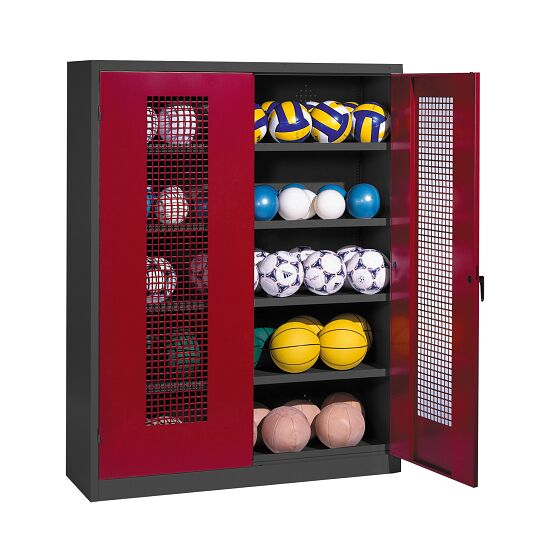 Ball Cabinet, HxWxD 195x150x50 cm, with Perforated Metal Double Doors (type 3) Ruby red (RAL 3003), Anthracite (RAL 7021)