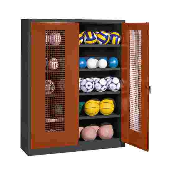 Ball Cabinet, HxWxD 195x150x50 cm, with Perforated Metal Double Doors (type 3) Sienna red (RDS 050 40 50), Anthracite (RAL 7021)
