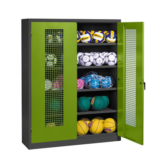 Ball Cabinet, HxWxD 195x150x50 cm, with Perforated Metal Double Doors (type 3) Viridian green (RDS 110 80 60), Anthracite (RAL 7021)