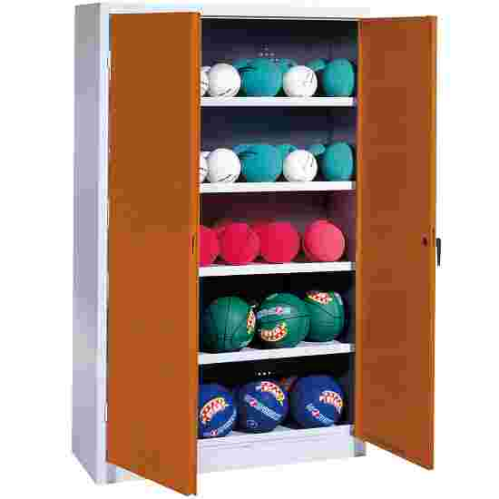 Ball Cabinet, HxWxD 195x150x50 cm, with Sheet Metal Double Doors (type 3) Sienna red (RDS 050 40 50), Light grey (RAL 7035)