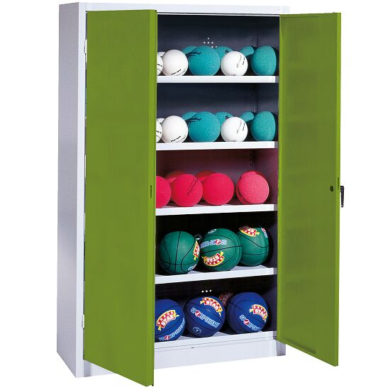 Ball Cabinet, HxWxD 195x150x50 cm, with Sheet Metal Double Doors (type 3) Viridian green (RDS 110 80 60), Light grey (RAL 7035)
