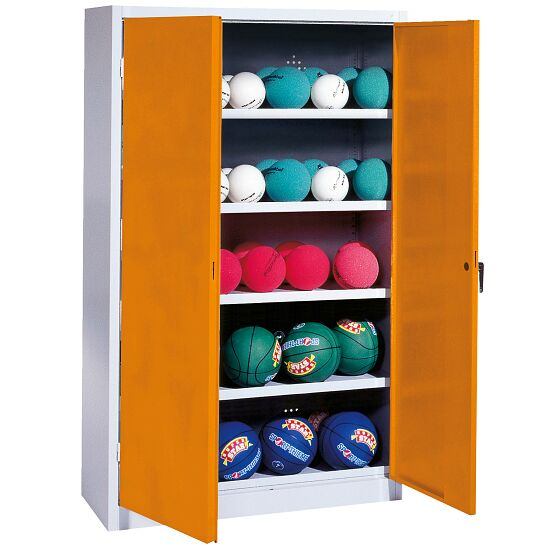 Ball Cabinet, HxWxD 195x150x50 cm, with Sheet Metal Double Doors (type 3) Yellow orange (RAL 2000), Light grey (RAL 7035)