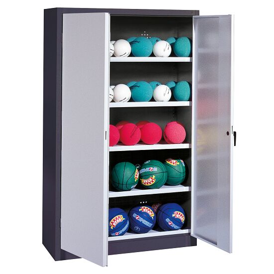 Ball Cabinet, HxWxD 195x150x50 cm, with Sheet Metal Double Doors (type 3) Light grey (RAL 7035), Anthracite (RAL 7021)