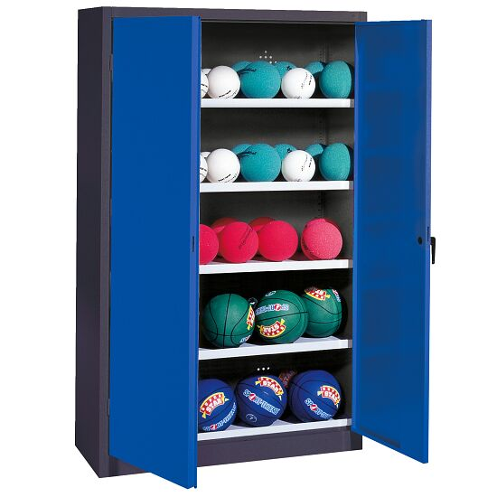Ball Cabinet, HxWxD 195x150x50 cm, with Sheet Metal Double Doors (type 3) Gentian blue (RAL 5010), Anthracite (RAL 7021)