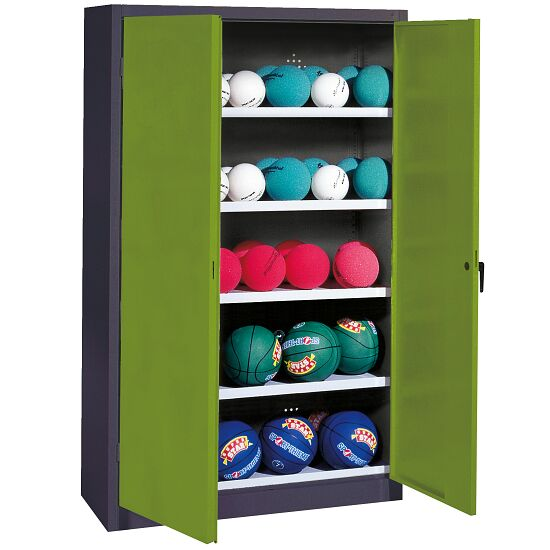 Ball Cabinet, HxWxD 195x150x50 cm, with Sheet Metal Double Doors (type 3) Viridian green (RDS 110 80 60), Anthracite (RAL 7021)