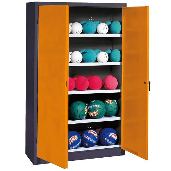 Ball Cabinet, HxWxD 195x150x50 cm, with Sheet Metal Double Doors (type 3) Yellow orange (RAL 2000), Anthracite (RAL 7021)