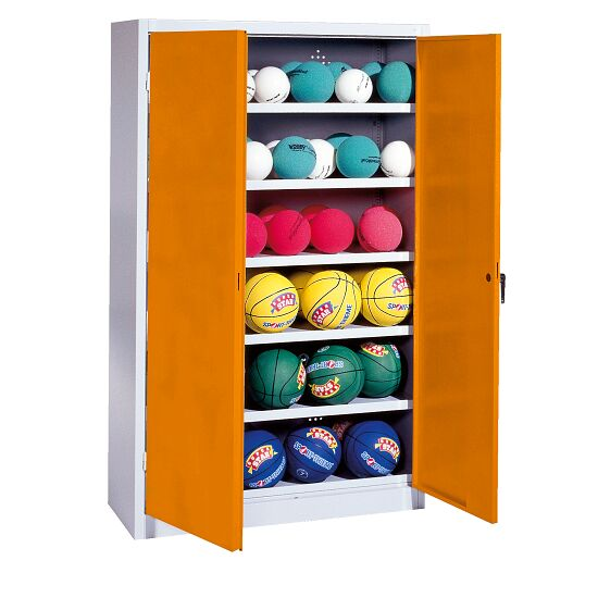 Ball Cabinet, HxWxD 195x93x40 cm, with Sheet Metal Double Doors (type 3) Yellow orange (RAL 2000), Light grey (RAL 7035)