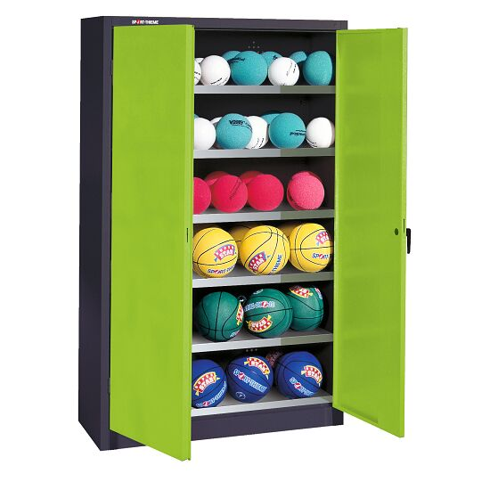Ball Cabinet, HxWxD 195x93x40 cm, with Sheet Metal Double Doors (type 3) Viridian green (RDS 110 80 60), Anthracite (RAL 7021)
