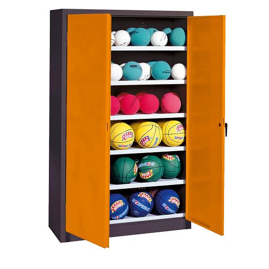 Ball Cabinet, HxWxD 195x93x40 cm, with Sheet Metal Double Doors (type 3) Yellow orange (RAL 2000), Anthracite (RAL 7021)