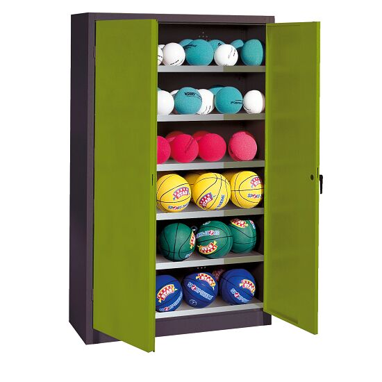 Ball Cabinet, HxWxD 195x93x50 cm, with Sheet Metal Double Doors (type 3) Viridian green (RDS 110 80 60), Anthracite (RAL 7021)