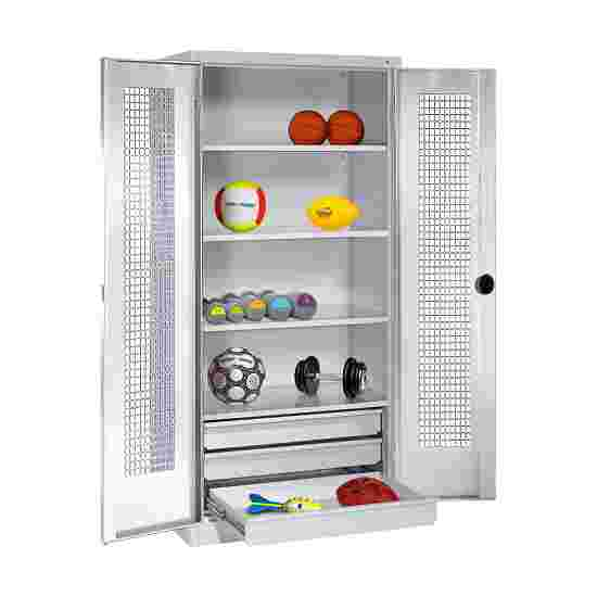 C+P Type 4 Sports Equipment Locker with Drawers and Perforated Double Doors, H×W×D: 195×120×50 cm Light grey (RAL 7035), Light grey (RAL 7035)