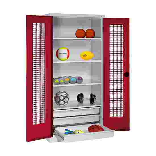 C+P Type 4 Sports Equipment Locker with Drawers and Perforated Double Doors, H×W×D: 195×120×50 cm Ruby red (RAL 3003), Light grey (RAL 7035)