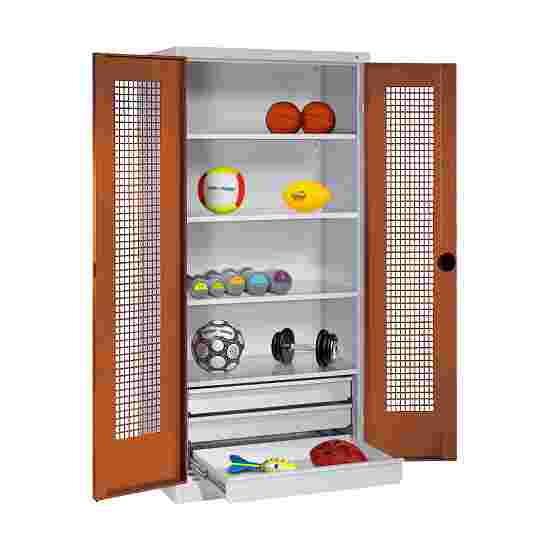 C+P Type 4 Sports Equipment Locker with Drawers and Perforated Double Doors, H×W×D: 195×120×50 cm Sienna red (RDS 050 40 50), Light grey (RAL 7035)