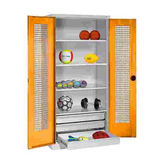 C+P Type 4 Sports Equipment Locker with Drawers and Perforated Double Doors, H×W×D: 195×120×50 cm Yellow orange (RAL 2000), Light grey (RAL 7035)