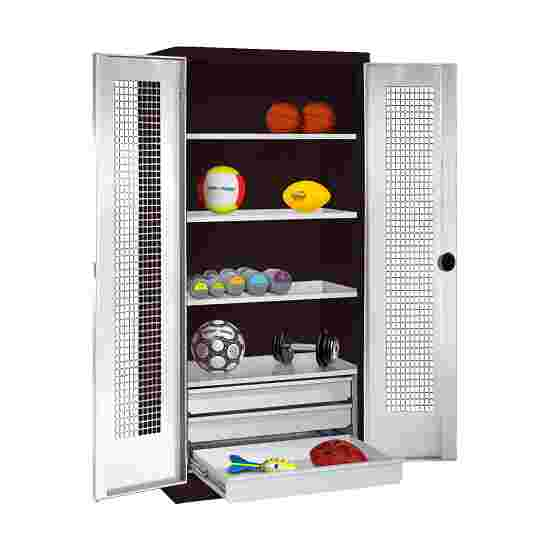 C+P Type 4 Sports Equipment Locker with Drawers and Perforated Double Doors, H×W×D: 195×120×50 cm Light grey (RAL 7035), Anthracite (RAL 7021)
