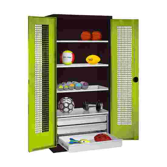 C+P Type 4 Sports Equipment Locker with Drawers and Perforated Double Doors, H×W×D: 195×120×50 cm Viridian green (RDS 110 80 60), Anthracite (RAL 7021)
