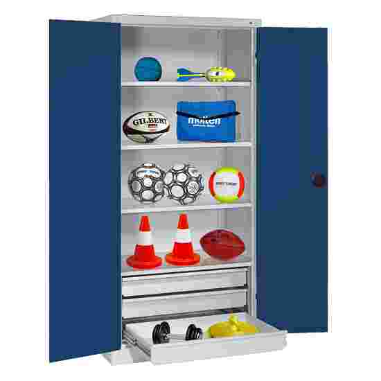 C+P Type 4 Sports Equipment Locker with Drawers and Sheet Metal Double Doors, H×W×D: 195×120×50 cm Gentian blue (RAL 5010), Light grey (RAL 7035)