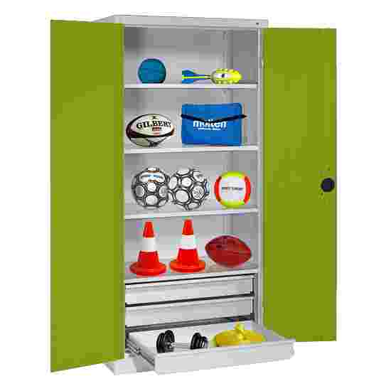 C+P Type 4 Sports Equipment Locker with Drawers and Sheet Metal Double Doors, H×W×D: 195×120×50 cm Viridian green (RDS 110 80 60), Light grey (RAL 7035)