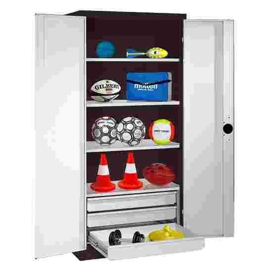 C+P Type 4 Sports Equipment Locker with Drawers and Sheet Metal Double Doors, H×W×D: 195×120×50 cm Light grey (RAL 7035), Anthracite (RAL 7021)